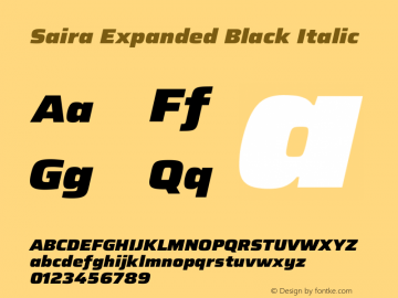 Saira Expanded Black Italic Version 1.100图片样张
