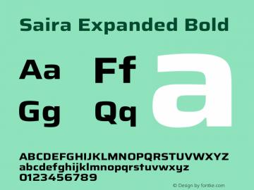 Saira Expanded Bold Version 1.100图片样张