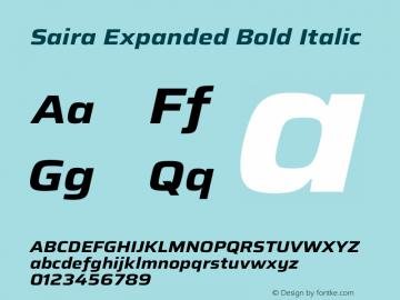 Saira Expanded Bold Italic Version 1.100图片样张