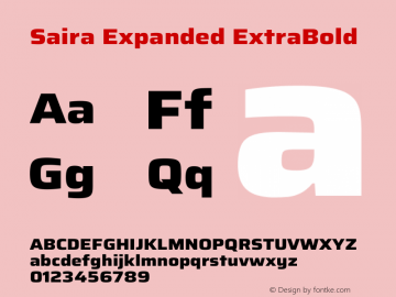 Saira Expanded ExtraBold Version 1.100图片样张
