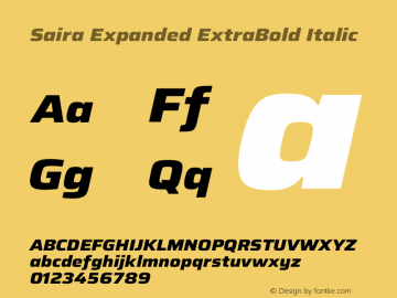 Saira Expanded ExtraBold Italic Version 1.100图片样张