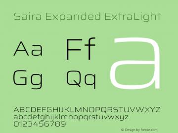 Saira Expanded ExtraLight Version 1.100图片样张