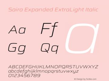 Saira Expanded ExtraLight Italic Version 1.100图片样张