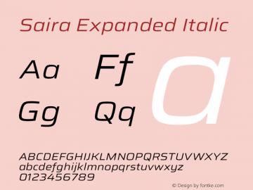 Saira Expanded Italic Version 1.100图片样张