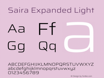 Saira Expanded Light Version 1.100图片样张