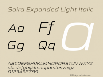 Saira Expanded Light Italic Version 1.100图片样张