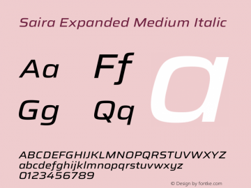 Saira Expanded Medium Italic Version 1.100图片样张