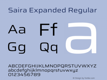 Saira Expanded Regular Version 1.100图片样张