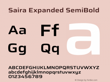 Saira Expanded SemiBold Version 1.100图片样张