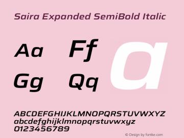 Saira Expanded SemiBold Italic Version 1.100图片样张