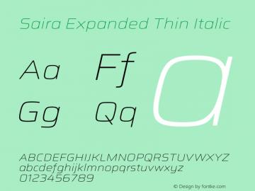 Saira Expanded Thin Italic Version 1.100图片样张