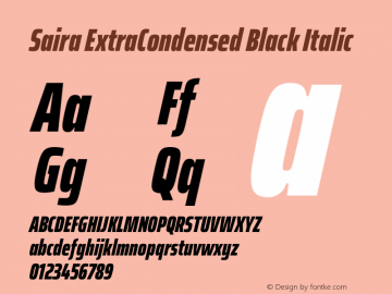 Saira ExtraCondensed Black Italic Version 1.100图片样张