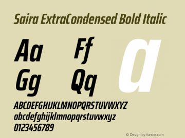 Saira ExtraCondensed Bold Italic Version 1.100图片样张
