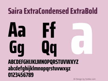Saira ExtraCondensed ExtraBold Version 1.100图片样张