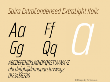 Saira ExtraCondensed ExtraLight Italic Version 1.100图片样张