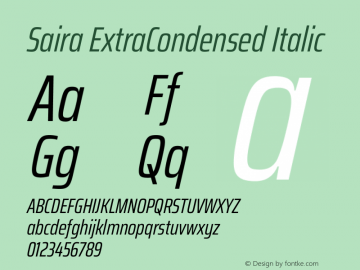 Saira ExtraCondensed Italic Version 1.100图片样张