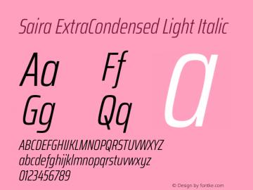 Saira ExtraCondensed Light Italic Version 1.100图片样张