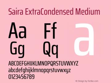 Saira ExtraCondensed Medium Version 1.100图片样张