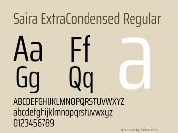 Saira ExtraCondensed Regular Version 1.100图片样张