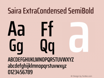 Saira ExtraCondensed SemiBold Version 1.100图片样张