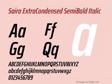 Saira ExtraCondensed SemiBold Italic Version 1.100图片样张