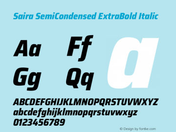 Saira SemiCondensed ExtraBold Italic Version 1.100图片样张