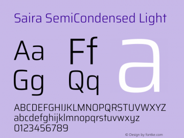 Saira SemiCondensed Light Version 1.100图片样张
