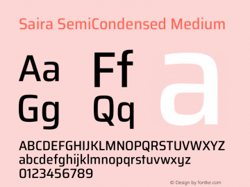 Saira SemiCondensed Medium Version 1.100图片样张