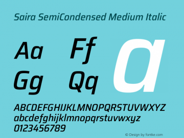 Saira SemiCondensed Medium Italic Version 1.100图片样张