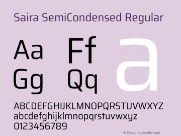 Saira SemiCondensed Regular Version 1.100图片样张