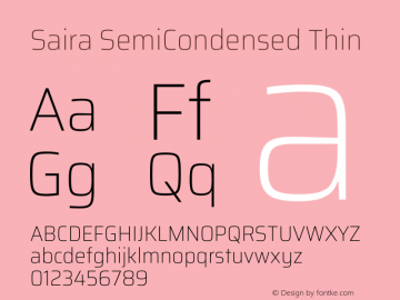 Saira SemiCondensed Thin Version 1.100图片样张