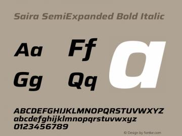 Saira SemiExpanded Bold Italic Version 1.100图片样张