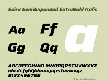 Saira SemiExpanded ExtraBold Italic Version 1.100图片样张