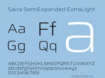 Saira SemiExpanded ExtraLight Version 1.100图片样张
