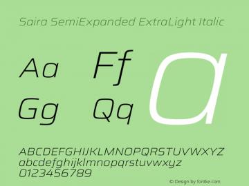 Saira SemiExpanded ExtraLight Italic Version 1.100图片样张