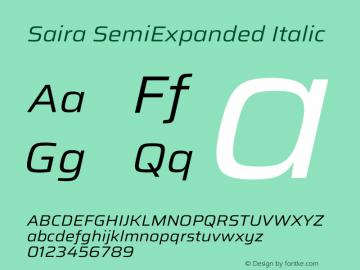 Saira SemiExpanded Italic Version 1.100图片样张