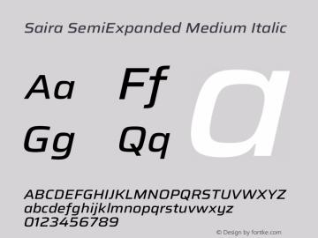 Saira SemiExpanded Medium Italic Version 1.100图片样张