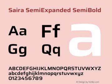 Saira SemiExpanded SemiBold Version 1.100图片样张