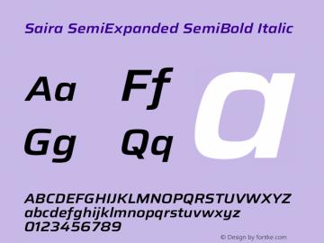 Saira SemiExpanded SemiBold Italic Version 1.100图片样张