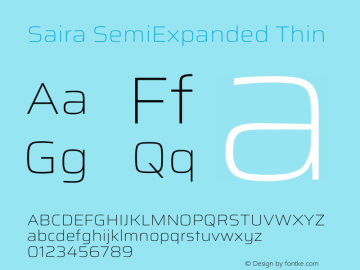 Saira SemiExpanded Thin Version 1.100图片样张