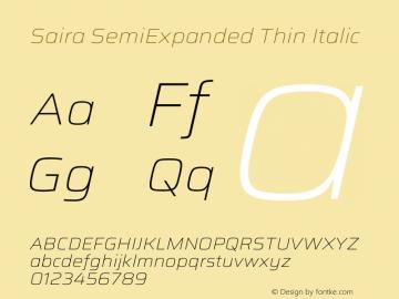 Saira SemiExpanded Thin Italic Version 1.100图片样张