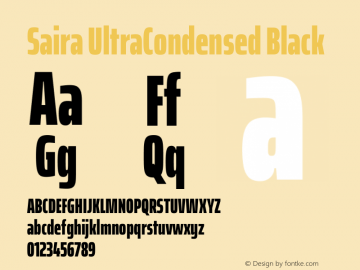 Saira UltraCondensed Black Version 1.100图片样张