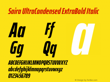 Saira UltraCondensed ExtraBold Italic Version 1.100图片样张