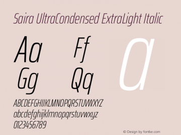 Saira UltraCondensed ExtraLight Italic Version 1.100图片样张
