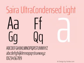 Saira UltraCondensed Light Version 1.100图片样张
