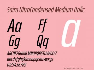 Saira UltraCondensed Medium Italic Version 1.100图片样张