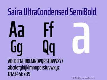 Saira UltraCondensed SemiBold Version 1.100图片样张