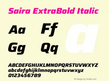 Saira ExtraBold Italic Version 1.100图片样张