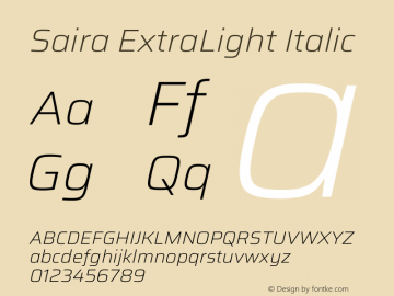 Saira ExtraLight Italic Version 1.100图片样张