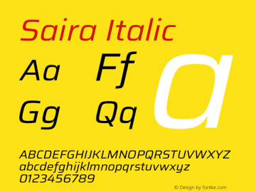 Saira Italic Version 1.100图片样张